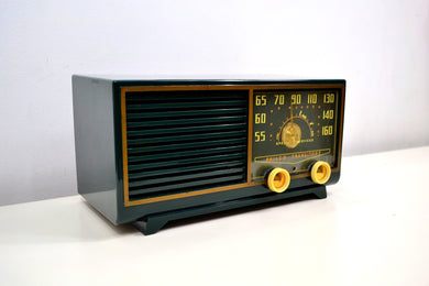 Hunter Green 1953 Philco Model 53-562 Transitone AM Radio with Civil Service and Sounds Great! - [product_type} - Philco - Retro Radio Farm