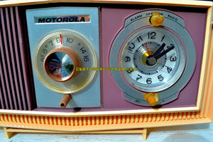 SOLD! - Oct 27, 2017 - TWILIGHT SPARKLE Purple And Pink Mid Century Retro 1963 Motorola Model C4P-143 Tube AM Clock Radio Rare Colors! - [product_type} - Motorola - Retro Radio Farm