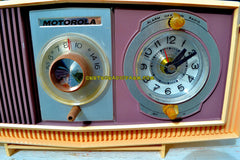 SOLD! - Oct 27, 2017 - TWILIGHT SPARKLE Purple And Pink Mid Century Retro 1963 Motorola Model C4P-143 Tube AM Clock Radio Rare Colors!