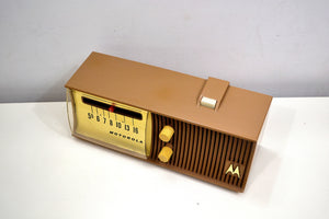 SOLD! - Dec. 4, 2019 - Sandy Tan Mid Century 1957 Motorola Model 57H Tube AM Radio Hard to Find Rare Color Near Mint! - [product_type} - Motorola - Retro Radio Farm