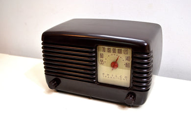 Art Deco Brown Bakelite Vintage 1946 Philco Transitone 46-200 AM Radio Popular Design Back In Its Day and Today!
