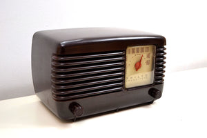 SOLD! - Oct. 30, 2019 - Art Deco Brown Bakelite Vintage 1946 Philco Transitone 46-200 AM Radio Popular Design Back In Its Day and Today! - [product_type} - Philco - Retro Radio Farm