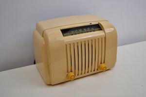 Ivory Beige Bakelite 1947 Crosley Model 58TL AM Tube Radio Post War Beauty!