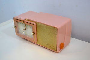 SOLD! - Mar 10, 2019 - Pink Gold 1959 Bulova Model 100 Tube AM Antique Clock Radio - [product_type} - Bulova - Retro Radio Farm