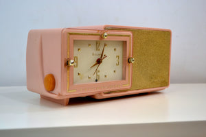 Pink Gold 1959 Bulova Model 100 Tube AM Antique Clock Radio - [product_type} - Bulova - Retro Radio Farm