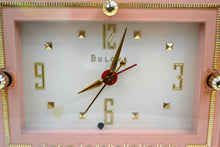 Load image into Gallery viewer, Pink Gold 1959 Bulova Model 100 Tube AM Antique Clock Radio - [product_type} - Bulova - Retro Radio Farm