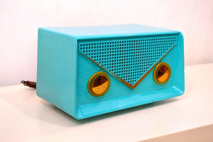 SOLD! - Oct. 22, 2018 - Turquoise 1959 Olympic Model 550-551 Tube AM Antique Radio - [product_type} - Olympic - Retro Radio Farm