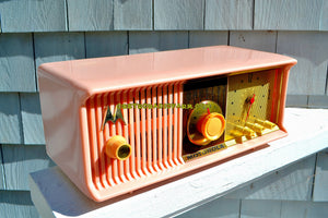 SOLD! - Dec 8, 2017 - MARILYN PINK Mid Century Vintage Retro 1956 Motorola 56CD Tube AM Clock Radio Real Looker! - [product_type} - Motorola - Retro Radio Farm
