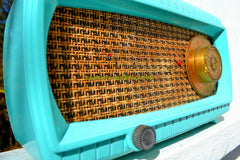 SOLD! - Nov 10, 2017 - TURQUOISE AND WICKER Retro Vintage 1949 Capehart Model 3T55B AM Tube Radio Totally Restored!