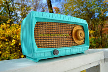 Load image into Gallery viewer, SOLD! - Nov 10, 2017 - TURQUOISE AND WICKER Retro Vintage 1949 Capehart Model 3T55B AM Tube Radio Totally Restored!