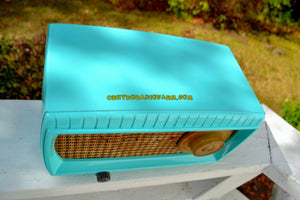 SOLD! - Nov 10, 2017 - TURQUOISE AND WICKER Retro Vintage 1949 Capehart Model 3T55B AM Tube Radio Totally Restored! - [product_type} - Capehart - Retro Radio Farm