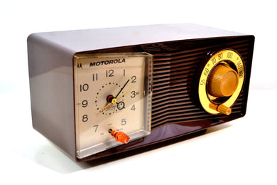 Mocha Brown Motorola Model C1N3 Tube AM Clock Radio - [product_type} - Motorola - Retro Radio Farm