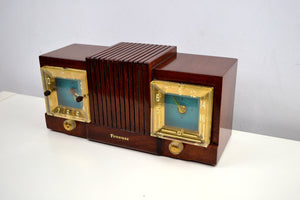 Chestnut Mantle 1954 Firestone 4-A-128 Tube AM Clock Radio Extremely Rare Woody! - [product_type} - Firestone - Retro Radio Farm