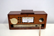 Load image into Gallery viewer, Chestnut Mantle 1954 Firestone 4-A-128 Tube AM Clock Radio Extremely Rare Woody!
