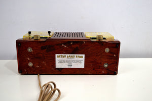 Chestnut Mantle 1954 Firestone 4-A-128 Tube AM Clock Radio Extremely Rare Woody!