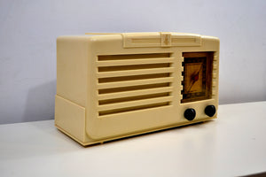 SOLD! - Dec 6, 2019 - Ivory 1938 Vintage Emerson Model 138 Plaskon AM Tube Radio Golden Age Wonder! - [product_type} - Emerson - Retro Radio Farm