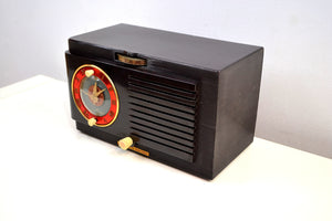 SOLD! - Nov 7, 2019 - Rich Sumptuous 1952 General Electric Model 60 AM Brown Bakelite Tube Clock Radio A Class Act! - [product_type} - General Electric - Retro Radio Farm