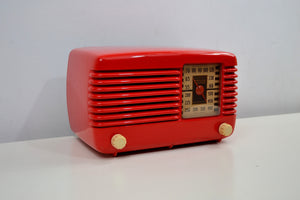 SOLD! - Oct 24, 2019 - Stunning Apple Red Bakelite Vintage 1946 Philco Transitone 48-200 AM Radio Popular Design Back In Its Day and Today! - [product_type} - Philco - Retro Radio Farm