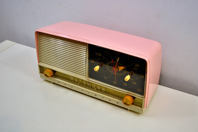 Fairlane Pink 1956 RCA Victor 8-C-7FE Vintage Tube AM Clock Radio Very Fair Indeed!
