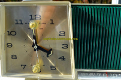 SOLD! - Nov 3, 2017 - HUNTER GREEN Gorgeous Mid Century Vintage Motorola C11G Clock Radio 1959 Tube AM Clock Radio Totally Restored!