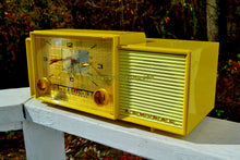 Load image into Gallery viewer, SOLD! - Nov 5, 2017 - MELLOW YELLOW Mid Century Vintage Retro 1959 Admiral 296 Tube AM Clock Radio Sounds Great! Rare Color!