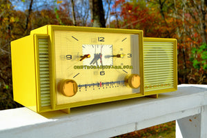 SOLD! - Nov 5, 2017 - MELLOW YELLOW Mid Century Vintage Retro 1959 Admiral 296 Tube AM Clock Radio Sounds Great! Rare Color! - [product_type} - Admiral - Retro Radio Farm