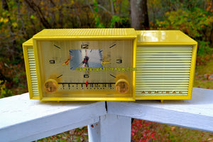 SOLD! - Nov 5, 2017 - MELLOW YELLOW Mid Century Vintage Retro 1959 Admiral 296 Tube AM Clock Radio Sounds Great! Rare Color!