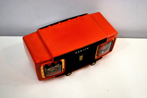 SOLD! - Oct 29, 2019 - Marzano Red Orange 1953 Zenith Model L622F AM Vintage Tube Radio Gorgeous Looking and Sounding!