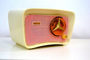 SOLD! - Nov 1, 2018 - Retro Classic Pink and White 1959 Travler Model T-204 AM Tube Radio