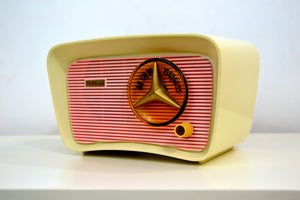 SOLD! - Nov 1, 2018 - Retro Classic Pink and White 1959 Travler Model T-204 AM Tube Radio - [product_type} - Travler - Retro Radio Farm