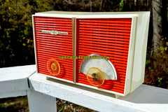 SOLD! - Dec 9, 2017 - WACKY LOOKING Coral And White  Retro Jetsons Vintage 1958 Philco G826-124 AM Tube Radio Looks Awesome!