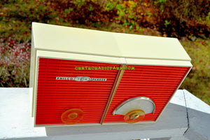 SOLD! - Dec 9, 2017 - WACKY LOOKING Coral And White  Retro Jetsons Vintage 1958 Philco G826-124 AM Tube Radio Looks Awesome! - [product_type} - Philco - Retro Radio Farm