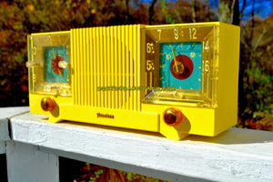 SOLD! - Nov 16, 2017 - SUNRISE YELLOW Mid Century 1952 Firestone Model 4-A-127 Tube AM Radio Cool Model Rare Color!