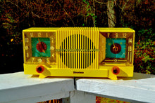 Load image into Gallery viewer, SOLD! - Nov 16, 2017 - SUNRISE YELLOW Mid Century 1952 Firestone Model 4-A-127 Tube AM Radio Cool Model Rare Color!