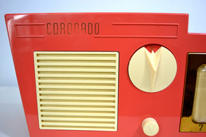 SOLD! - Dec 7, 2018 - Coral Pink 1955 Coronado Model 5CC Antique Clock Radio - [product_type} - Coronado - Retro Radio Farm