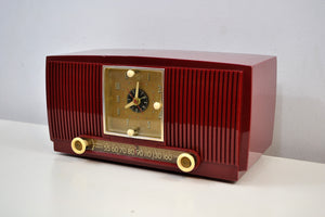 SOLD! - Feb 10, 2020 - Pomegranate Red 1953 General Electric Model 547 Retro AM Clock Radio Works Great! - [product_type} - General Electric - Retro Radio Farm
