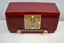 Load image into Gallery viewer, Pomegranate Red 1953 General Electric Model 547 Retro AM Clock Radio Works Great!