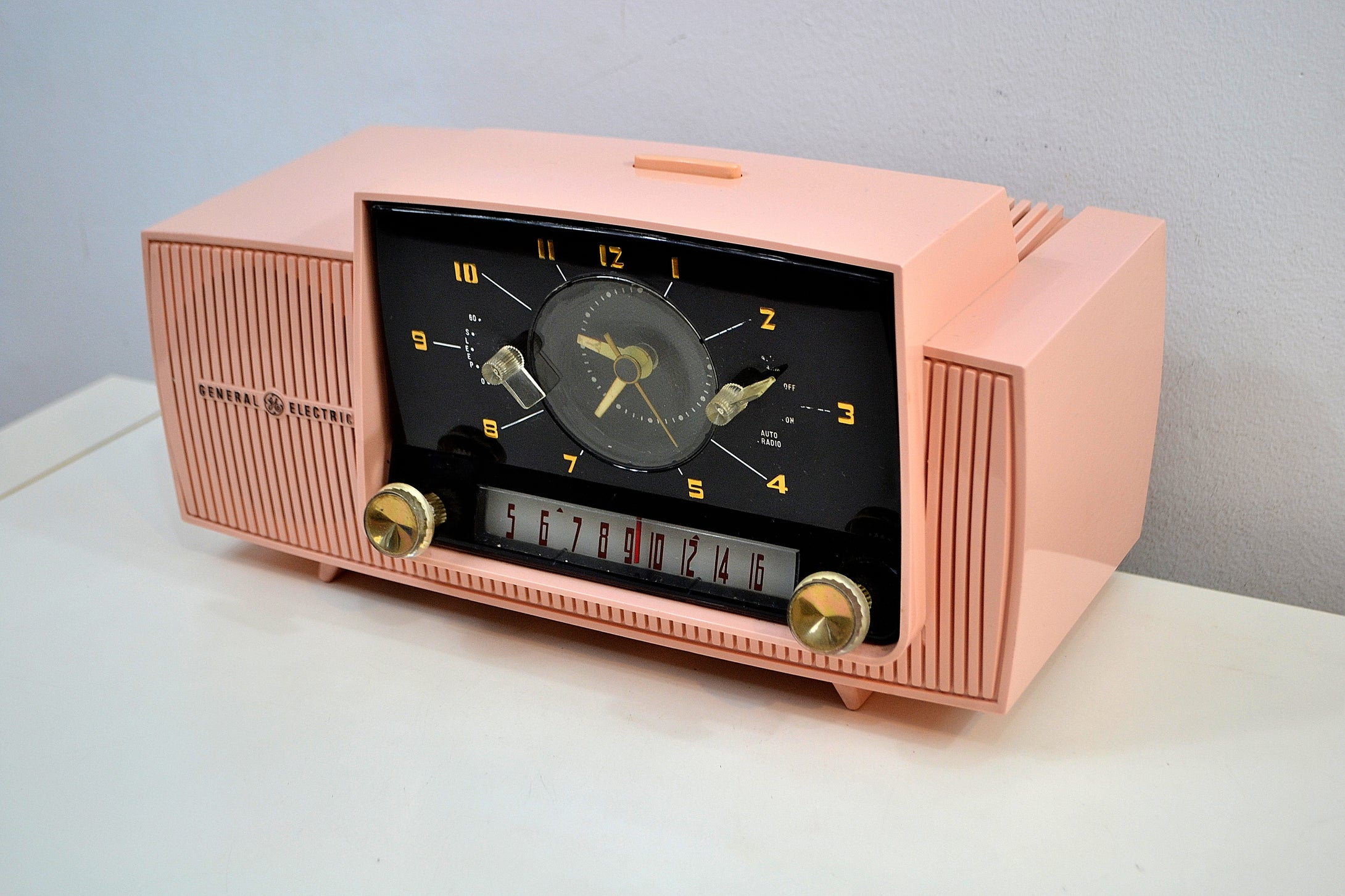 SOLD! - Dec 7, 2019 - Princess Pink 1957 General Electric Model 912D Tube AM Clock Radio Sounds and Looks Lovely! - [product_type} - General Electric - Retro Radio Farm