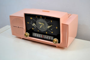 SOLD! - Dec 7, 2019 - Princess Pink 1957 General Electric Model 912D Tube AM Clock Radio Sounds and Looks Lovely!