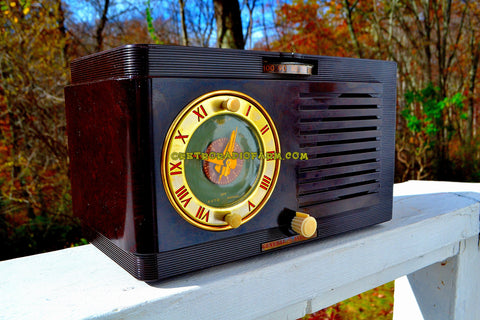 SOLD! - Nov. 19, 2017 - BLUETOOTH MP3 READY - Brown Swirly Mid Century Vintage 1952 General Electric Model 60 AM Brown Bakelite Tube Clock Radio Works and Looks Great!