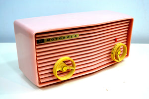 SOLD! - Aug 16, 2019 - Powder Pink 1957 Motorola 57R Tube AM Antique Radio Real Cutie! - [product_type} - Motorola - Retro Radio Farm