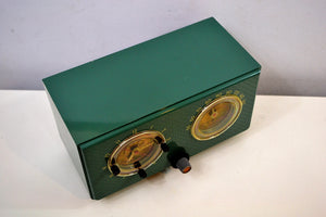 Mariner Green 1954 General Electric Model 566 Retro AM Clock Radio Porthole Design Sounds Great!