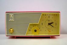 Load image into Gallery viewer, Cameo Pink 1958 Emerson Model 916-B Tube AM Clock Radio Sounds Great!