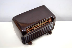 SOLD! - Nov 18, 2019 - Marble Swirly Brown Bakelite Vintage 1948 Philco Model 48-250 AM Radio Sounds Amazing! - [product_type} - Philco - Retro Radio Farm