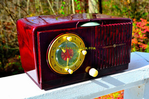 SOLD! - Nov 19, 2017 - BROWN MARBLED Golden Age Art Deco 1952 General Electric Model 515F AM Tube Clock Radio Totally Restored!