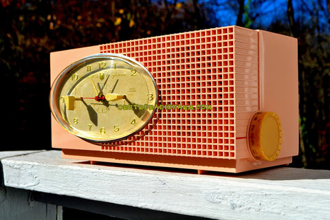 SOLD! - Jan 14, 2018 - BLUETOOTH MP3 UPGRADE ADDED - MAYFAIR PINK Mid Century Retro 1959 Sylvania Model 6001-2 Tube AM Clock Radio Creampuff!