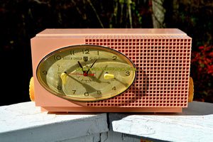 SOLD! - Jan 14, 2018 - BLUETOOTH MP3 UPGRADE ADDED - MAYFAIR PINK Mid Century Retro 1959 Sylvania Model 6001-2 Tube AM Clock Radio Creampuff! - [product_type} - Sylvania - Retro Radio Farm