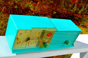 SOLD! - Dec 6, 2017 - LAGUNA AQUA Bi-level Retro Jetsons 1957 Motorola 57CD4A Tube AM Clock Radio Works Great! - [product_type} - Motorola - Retro Radio Farm