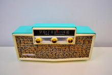 Load image into Gallery viewer, Ming Blue Mid Century Vintage 1959 Silvertone Model 9009 AM Tube Radio Oozes MCM Charm! - [product_type} - Silvertone - Retro Radio Farm