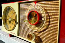 Load image into Gallery viewer, SOLD! - Jan 21, 2018 - CORVETTE RED AND WHITE Mid Century Vintage Retro 1959 General Electric GE Tube AM Clock Radio Totally Restored! - [product_type} - General Electric - Retro Radio Farm